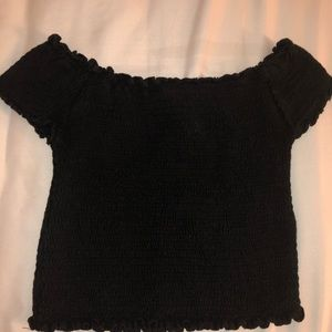Frilly off the shoulder slightly cropped shirt